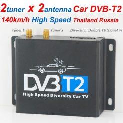 Car DVB-T2 Digital TV receiver two tuner dual antenna high speed 9