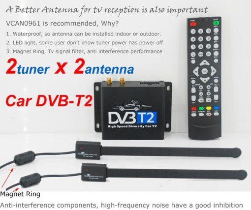 Car DVB-T2 Digital TV receiver two tuner dual antenna high speed 2