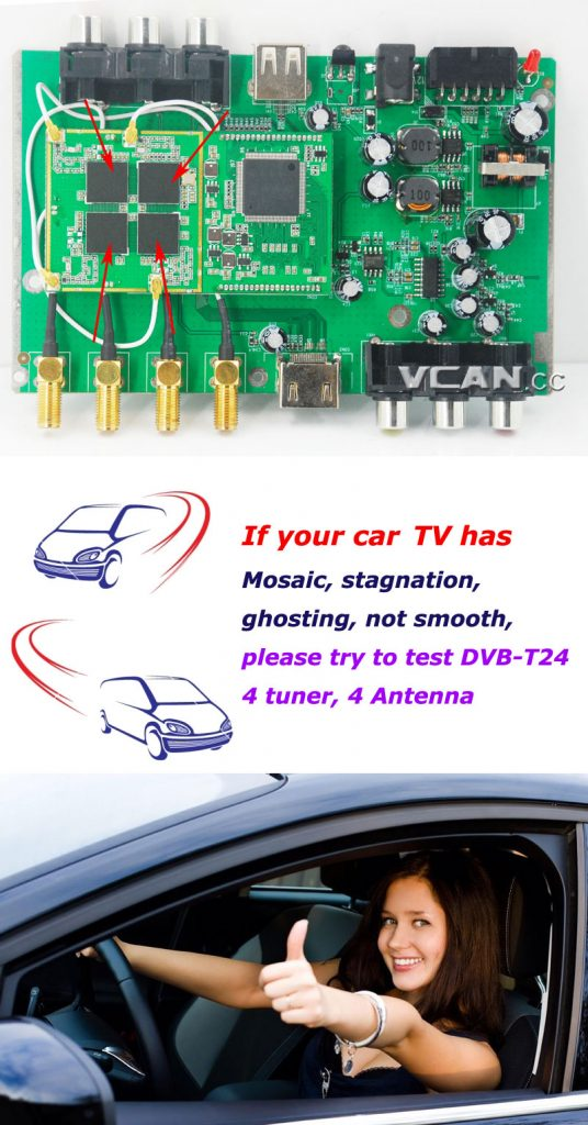 Car DVB-T2 4 Tuner 4 Antenna Digital TV Receiver for High speed auto mobile with USB movie player HDMI out HDTV DVB-T24 18