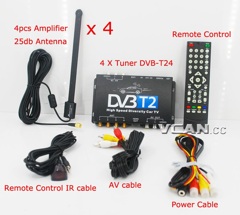 Car DVB-T2 4 Tuner 4 Antenna Digital TV Receiver for High speed auto mobile with USB movie player HDMI out HDTV DVB-T24 19