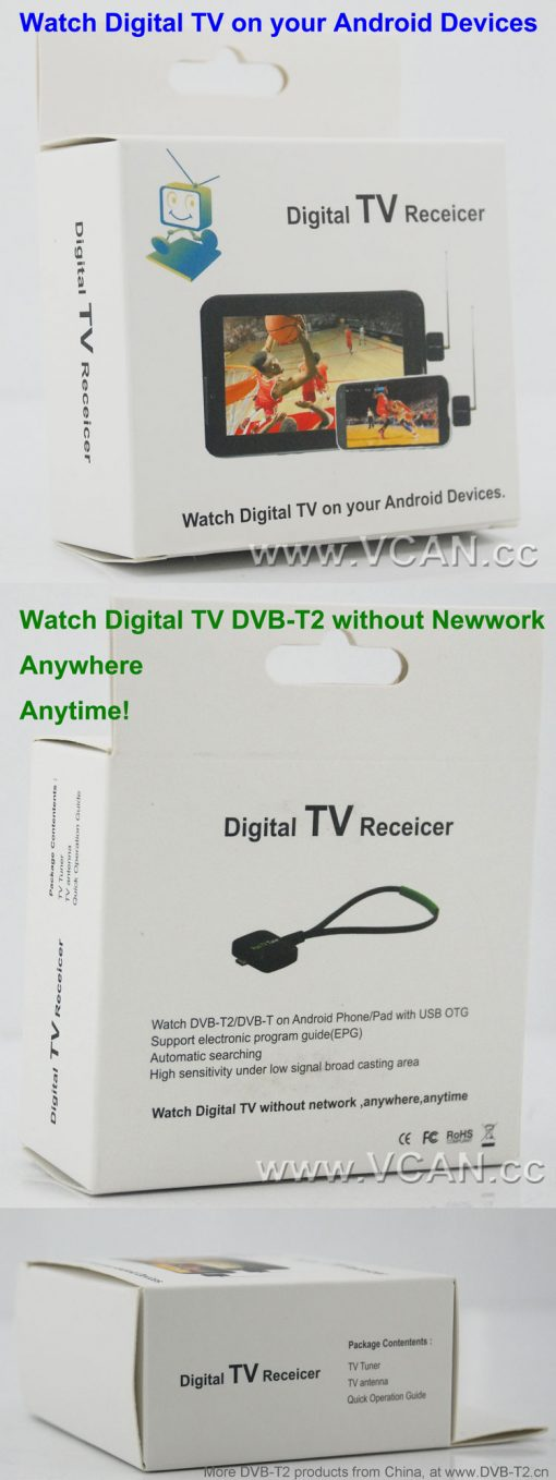 Mobile Phone DVB-T2 TV stick Tuner Receiver Micro USB for android pad digital 3