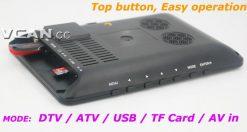 7 DVB-T2 7 inch Digital TV monitor Analog TV USB TF MP5 player AV in Rechargeable Battery 9