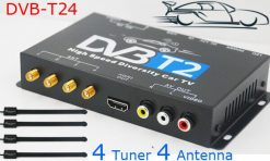 Car DVB-T2 4 Tuner 4 Antenna Digital TV Receiver for High speed auto mobile with USB movie player HDMI out HDTV DVB-T24 11