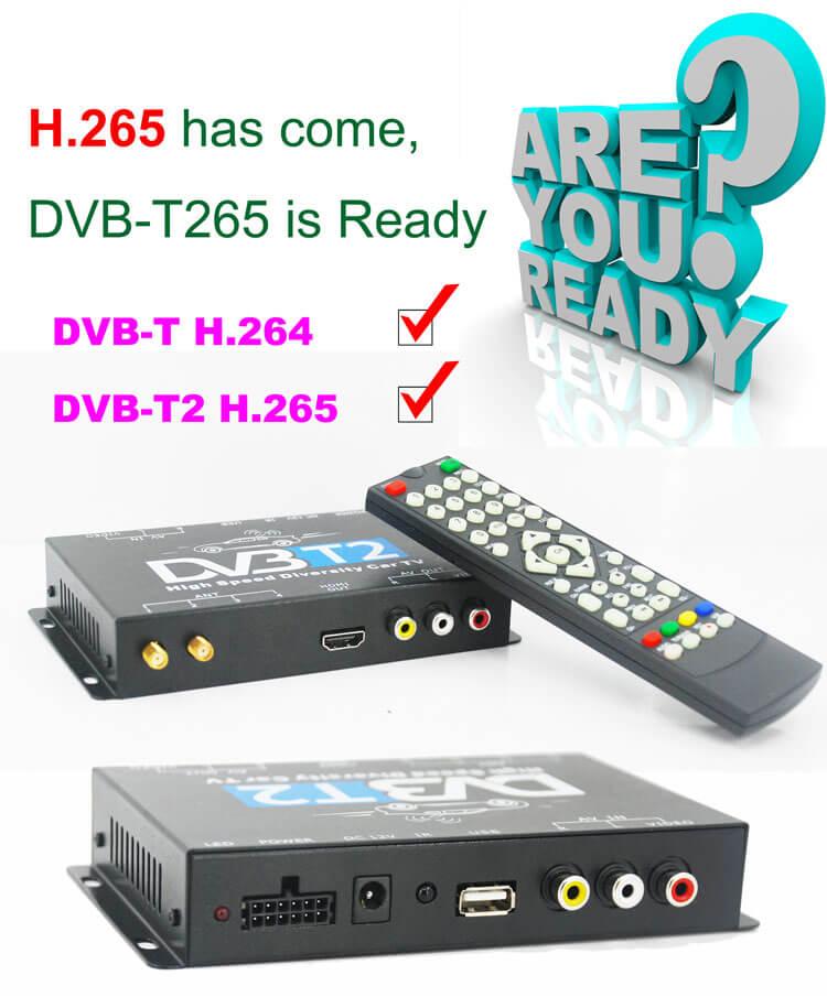 Germany DVB-T2 H.265 HEVC Codec New Model DVB-T265 auto mobile digital car dvb-t2 tv receiver 25