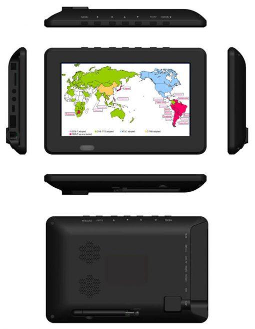7 inch ISDB-T Digital ISDBT TV HD MPEG4 FULL SEG Analog TV USB TF MP5 player AV input Rechargeable Battery 1