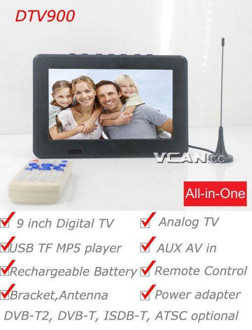 DTV900 DVB-T2 DVB-T ATSC ISDB-T 9 inch Digital TV Analog TV USB TF MP5 player AV in Rechargeable Battery 2