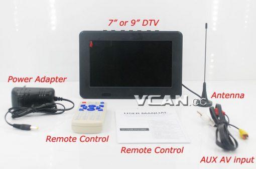 DTV900 DVB-T2 DVB-T ATSC ISDB-T 9 inch Digital TV Analog TV USB TF MP5 player AV in Rechargeable Battery 1