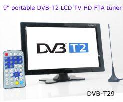 DVB-T29 9 inch portable DVB-T2 LCD TV monitor HD FTA Freenet H265 HEVC Codec 5
