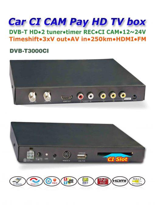 DVB-T3000CI HD Car DVB-T CI CAM card reader auto digital tv Slot DTV Europe TNT TDT CA 2