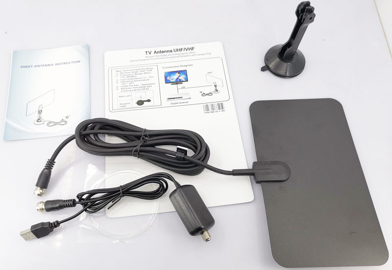 VCAN0992 Digital TV DVB-T2 UHF/VHF Flat antenna and No extra power required for home use 24