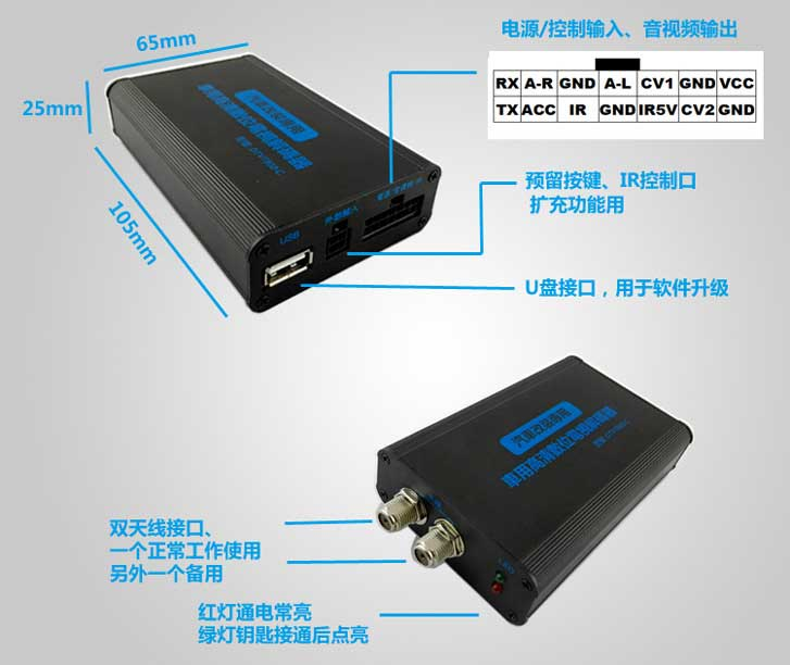 Car DVB-T 2 Antenna TV receiver VCAN1062 HD Digital TV tuner Box support MPEG4 H.264 13