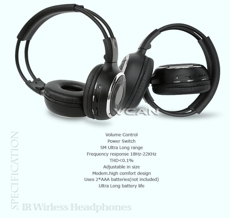 WL-2008 car wireless IR stereo TV headphone infrared headset with TV, VCR, VCD, DVD or audio system 10