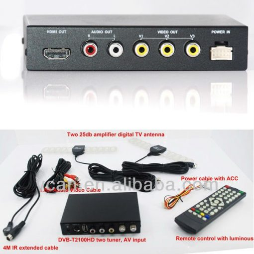 DVB-T2100HD Car DVB-T MPEG4 H.264 2 tuner Digital TV receiver 2 tuner 2 antenna 1