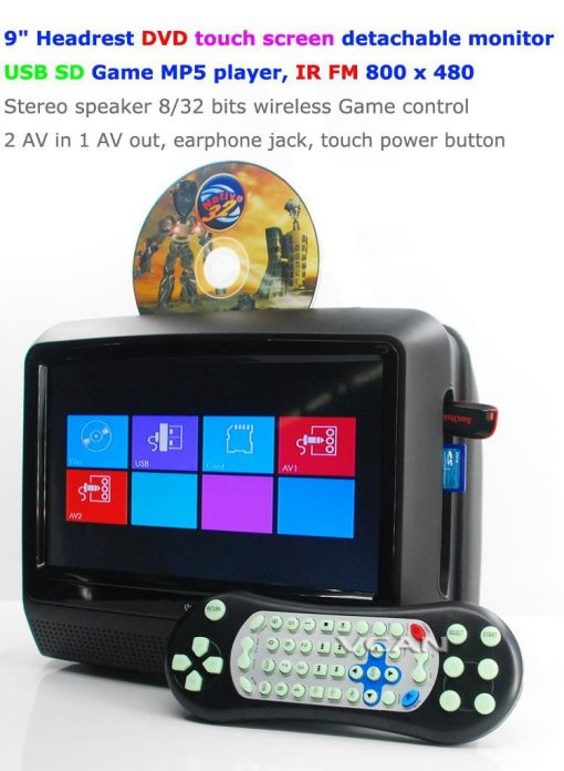 9 inch Headrest DVD touch screen USB SD Game MP5 player, IR FM 2 Speaker, 8-32 bits Game 1