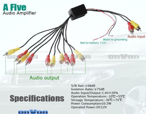 Audio Distribution signal Splitter Amplifier distribute 5 Output 4