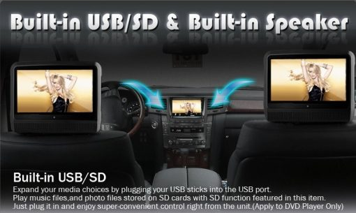 9 inch Headrest DVD touch screen USB SD Game MP5 player, IR FM 2 Speaker, 8-32 bits Game 2