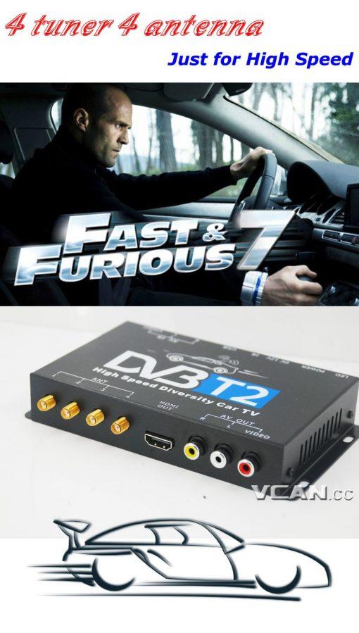 Car DVB-T2 TV Receiver 4 Tuner 4 Antenna USB HDMI HDTV Russia High Speed 4