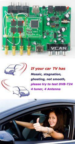 Car DVB-T2 TV Receiver 4 Tuner 4 Antenna USB HDMI HDTV Russia High Speed 11