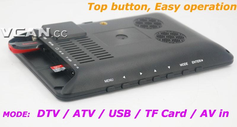 7 DVB-T2 7 inch Digital TV monitor Analog TV USB TF MP5 player AV in Rechargeable Battery 14