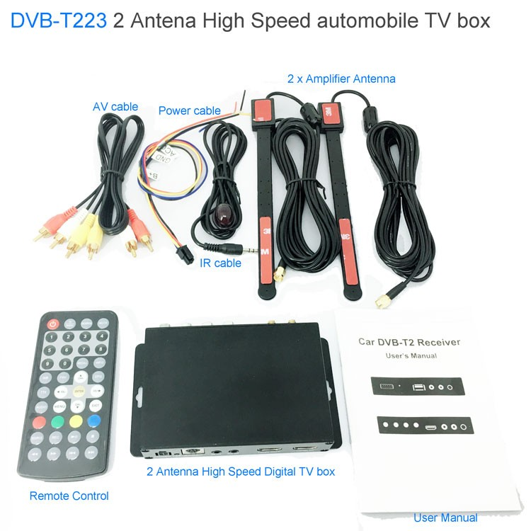 Car DVB-T2 DVB-T Multi PLP Digital TV Receiver 2 Antenna Diversity Dual Aerial H264 MPEG4 HD High Speed FTA STB 11