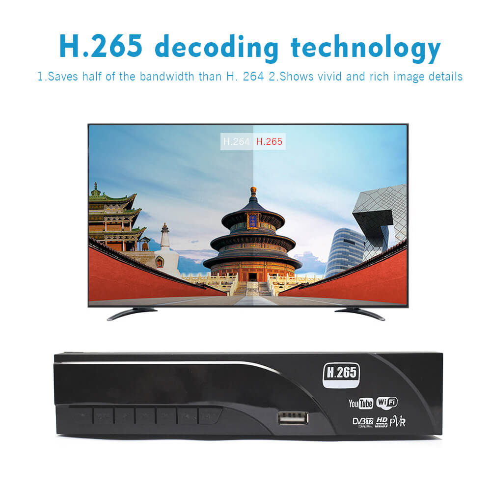 Home DVB-T2 H.265 HEVC H.264 DVB-T Receiver HDMI RCA Terrestrial Digital TV Receiver TV Tuner SCART MPEG4 20
