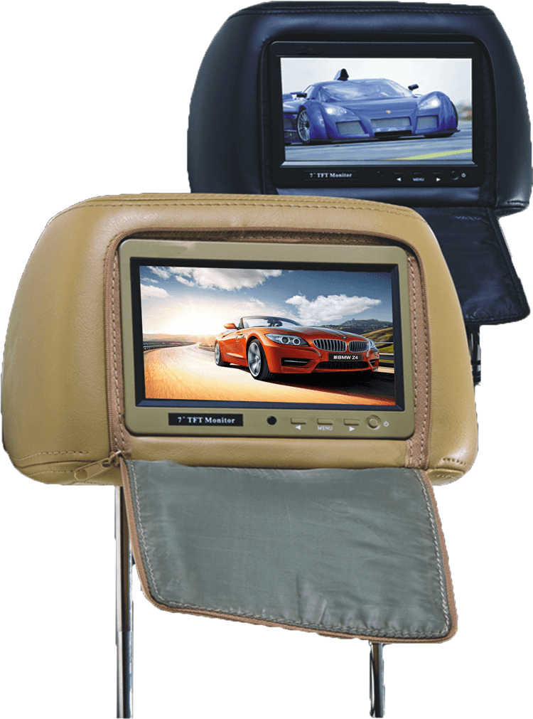 7 inch headrest monitor with pillow bag LED backlight cover zipper 18