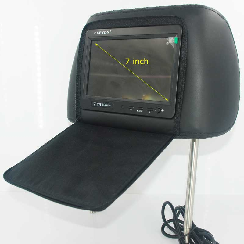 7 inch headrest monitor with pillow bag LED backlight cover zipper 17