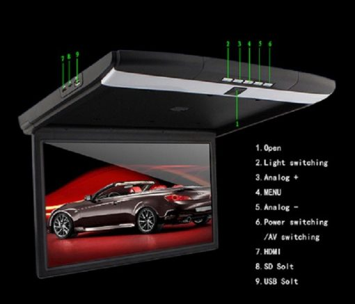 17.3inch high-definition screen car flip down Roof mount lcd monitor with MP5 HDMI USB SD Vcan1329 1