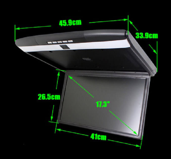 17.3 inch auto ceiling mount HDMI monitor USB SD HDMI player
