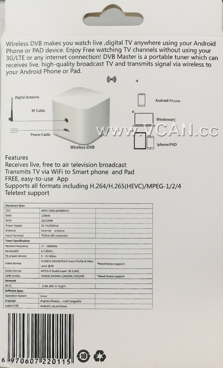 WIFI ISDB-T DVB-T2 Wireless Digital TV box for Android phone or Pad for Car outdoor Home 7