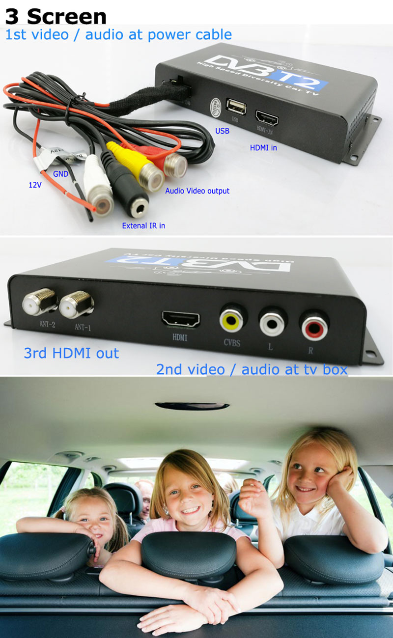 Car DVB-T2 H265 HEVC Codec Digital TV Receiver Auto Mobile Germany Standard 2 antenna H264 HD for all dvb country 22