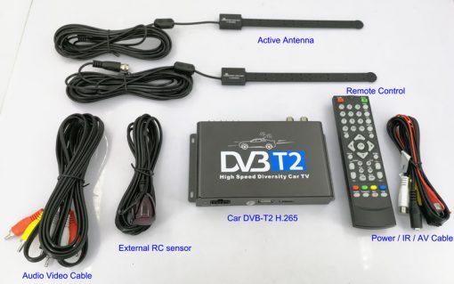 Car DVB-T2 H265 HEVC Codec Digital TV Receiver Auto Mobile Germany Standard 2 antenna H264 HD for all dvb country 3