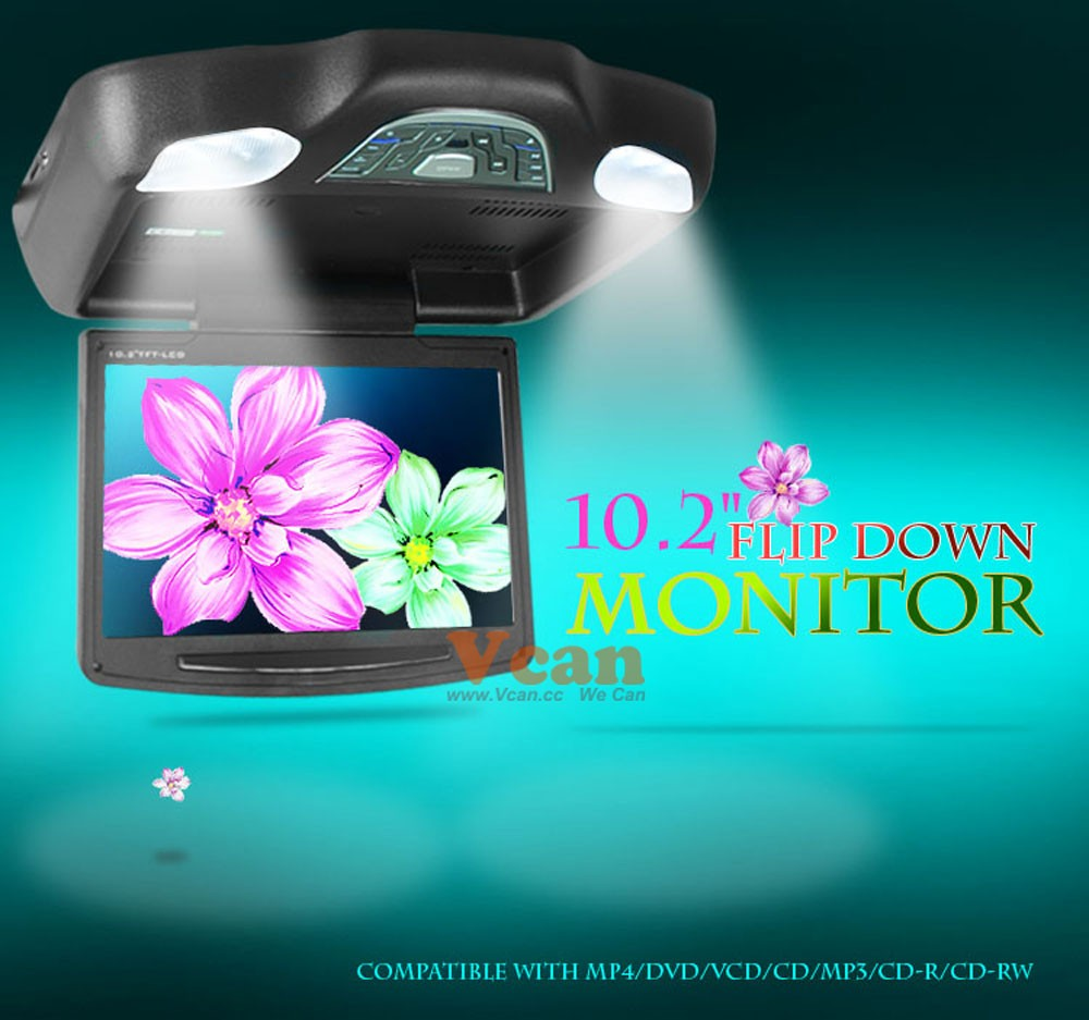 10.2 inch roof mount monitor usb sd dvd player ceiling flip down screen tm-1020 17