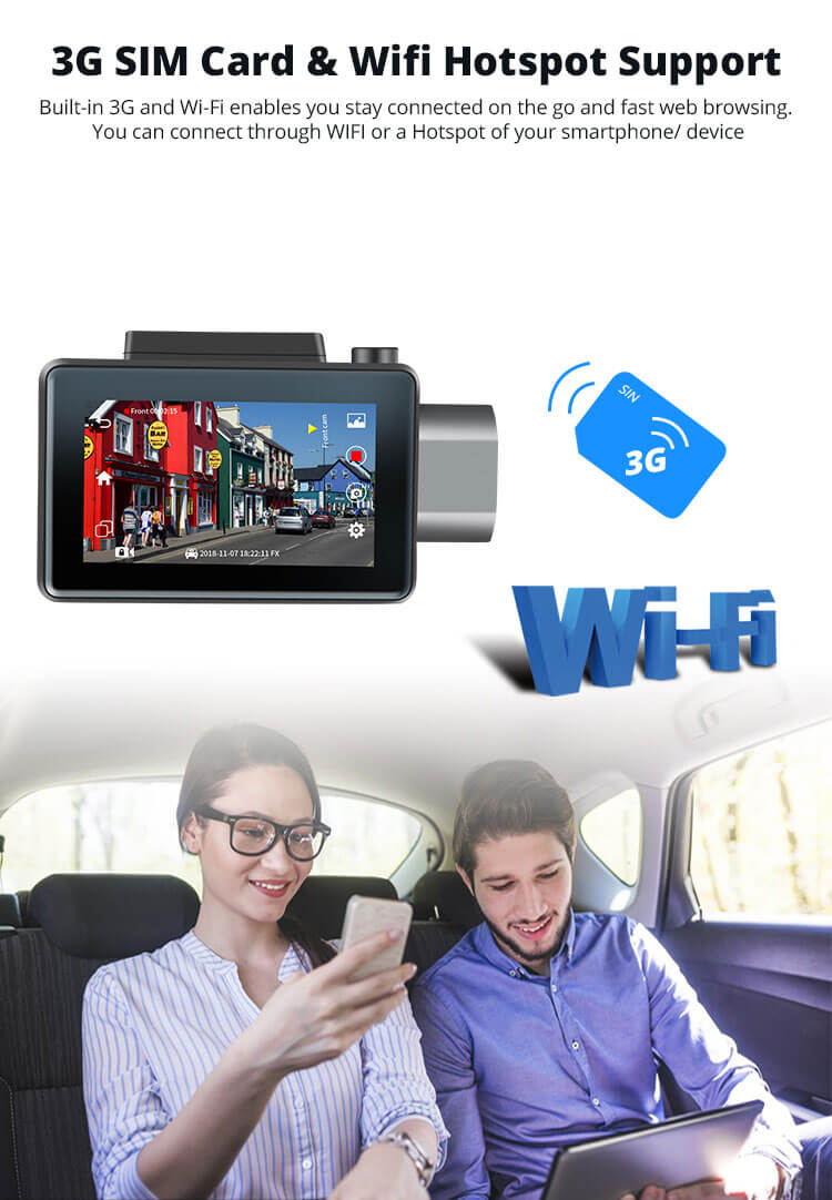Android Dash Cam Car DVR Camera GPS Logger 3G WiFi Dual Lens WDR Video Recorder 5.1 Rearview camera Vcan1608 4