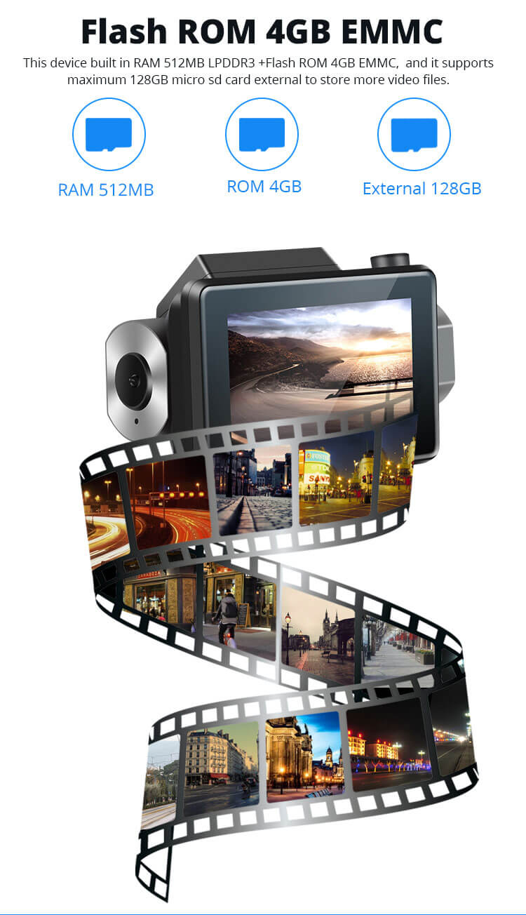 Android Dash Cam Car DVR Camera GPS Logger 3G WiFi Dual Lens WDR Video Recorder 5.1 Rearview camera Vcan1608 9