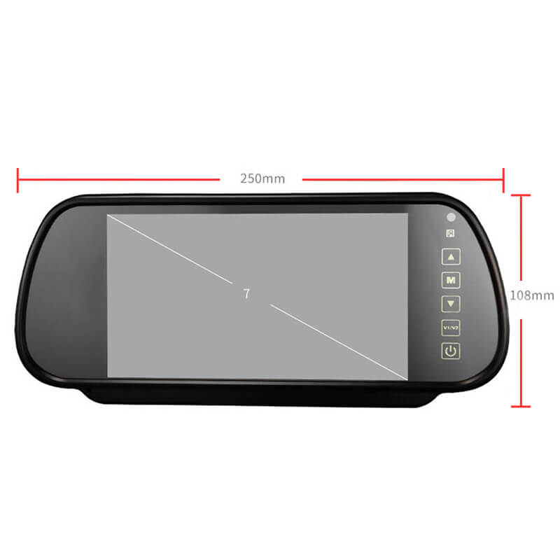 7 Inch Car Mirror Monitor Touch Button Auto Vehicle Parking Rear View Reverse HD Two inputs, install at original mirror RVM-700 18