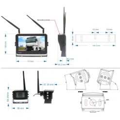 7 inch Wireless DVR quad monitor camera for Truck vehicle with AHD 1280 Night Vision HD Wifi Camera SD card Vcan1667 9