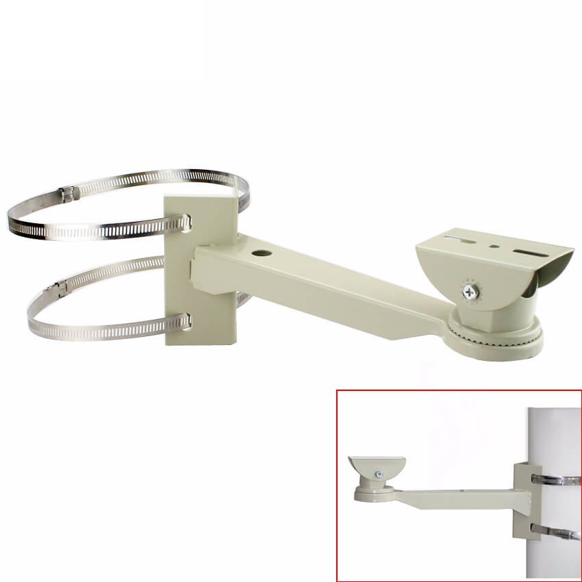 Pipe Lamp Post mount camera bracket Universal Surveillance Pole Mounting Bracket For CCTV Camera Outdoor Housing Bracket With Ring Vcan1544 14
