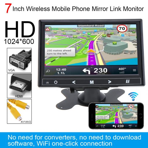 7 Inch HDMI VGA monitor Wireless Mobile Phone Mirror Link, IPS TFT LCD Color Multifunction Car Headrest miracast Monitor 1