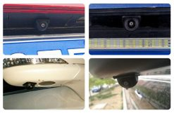 small straw hat rearview camera with 3 switches cuttable cable for parking guideline on/off, horizontal mirror on/off, vertical mirror on/off 15